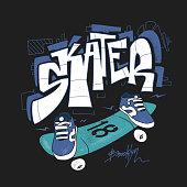 Skate board typography, urban t-shirt graphics, vectors.