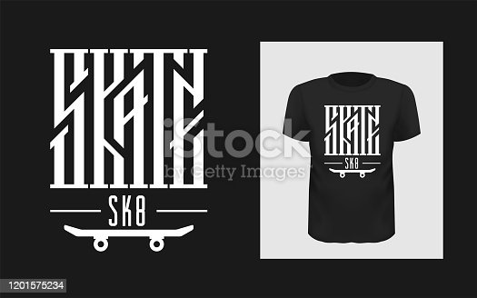 istock Skate board vector illustrations with cool logo for t-shirt 1201575234
