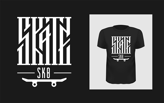 Skate Board Vector Illustrations With Cool Logo For Tshirt Stock Illustration - Download Image Now