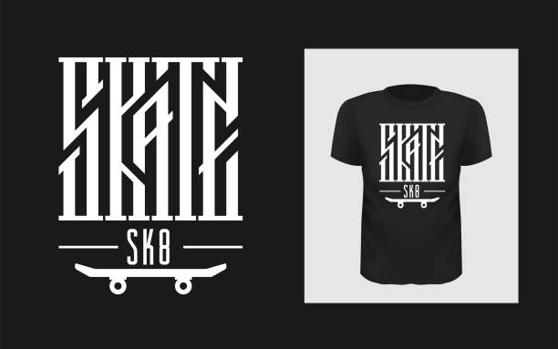 Skate board vector illustrations with cool logo for t-shirt Skate board vector illustrations with cool logo for t-shirt print and for modern active skateboarding hobby outfit. Urban skating. Sk8 typography. skate stock illustrations