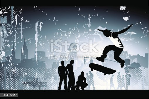 Urbanity at its best! Skateboarder doing a trick in the air with his buddies looking on. Has an (amazing) city scene and one click/unclick grunge effect. (that one click is to hide the grunge layer, btw)... come get it while is hot and fresh!