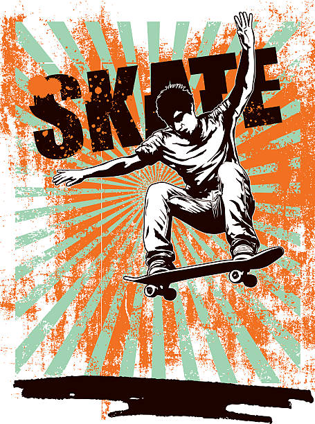 skate grunge poster with rider jumping skate scene with grunge background and copy space stunt stock illustrations