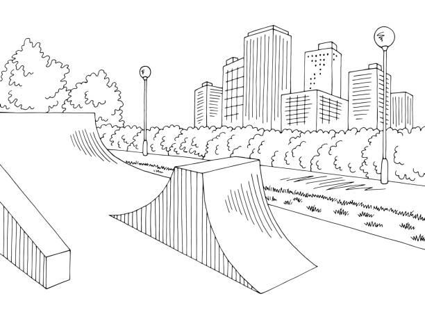 bildbanksillustrationer, clip art samt tecknat material och ikoner med skate park grafisk svart vit stad landskap skiss illustration vektor - skatepark