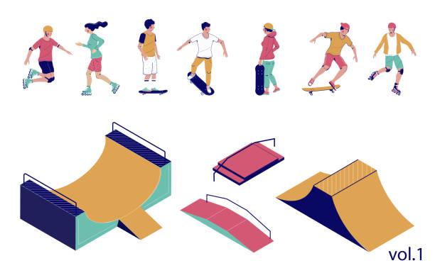 bildbanksillustrationer, clip art samt tecknat material och ikoner med skate park set, vektor platt isometrisk illustration - skatepark