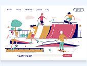 Skate park vector website template, landing page design for website and mobile site development. Skateboarders riding skateboards and performing tricks on skate ramp in city park. Rollerdrome concept.