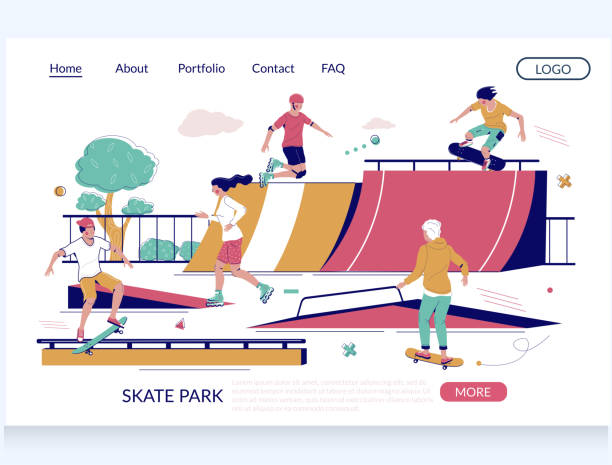 bildbanksillustrationer, clip art samt tecknat material och ikoner med designmall för skateparksvektorwebbplats för målsida - skatepark