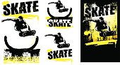 stencil and grunge skate scenes with rider jumping and copy space