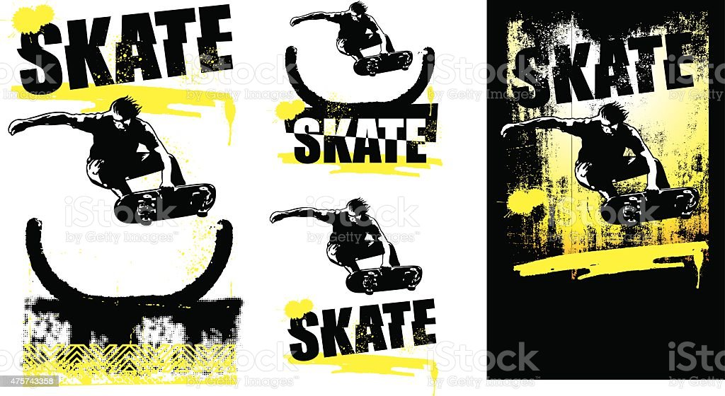 skate scenes with rider jumping vector art illustration