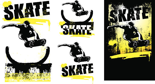 skate scenes with rider jumping - skateboard stock illustrations