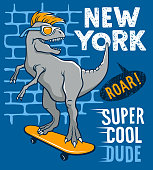 Dinosaur riding on skateboard. Vector illustration of a funny tyrannosaur with sunglasses. Skateboard typography for t-shirt. Athletic Tee graphics for kids