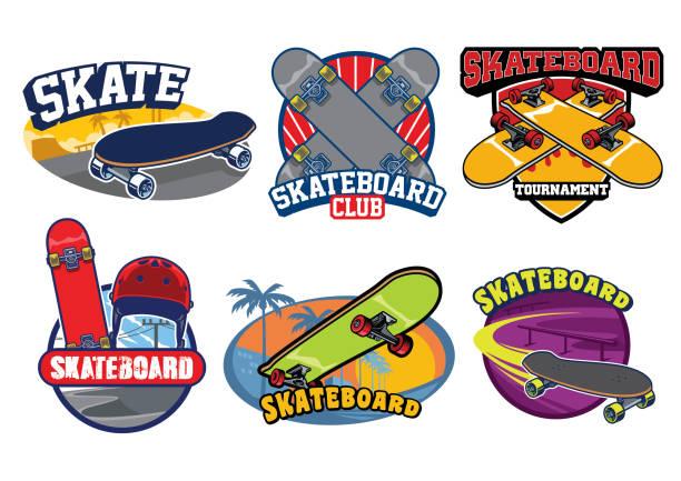 スケート ボードのバッジ デザイン セット - スケートボード点のイラスト素材/クリップアート素材/マンガ素材/アイコン素材