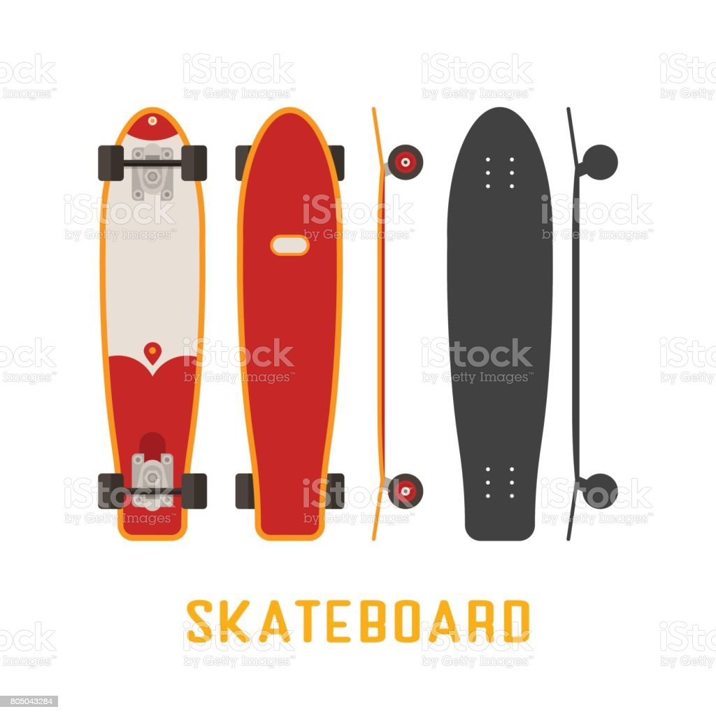 Skateboard Bottom, Side and Top View vector art illustration