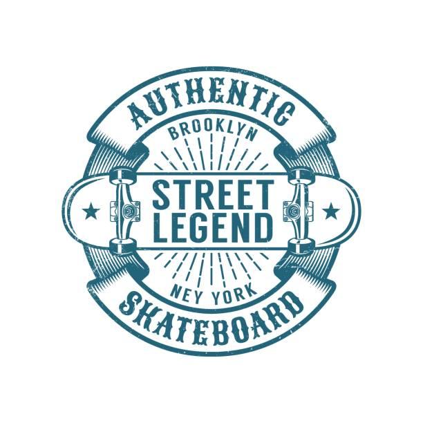 Bекторная иллюстрация Skateboard Brooklyn retro emblem