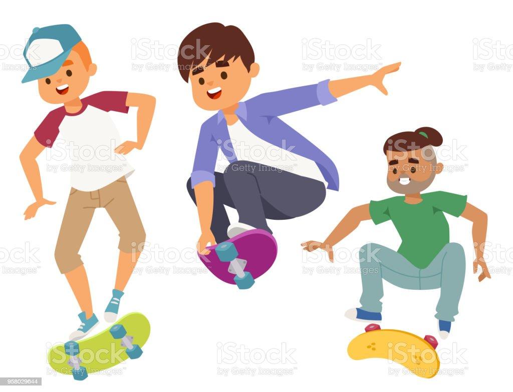 スケート ボードの文字ベクトル スタイリッシュなスケート子供イラスト