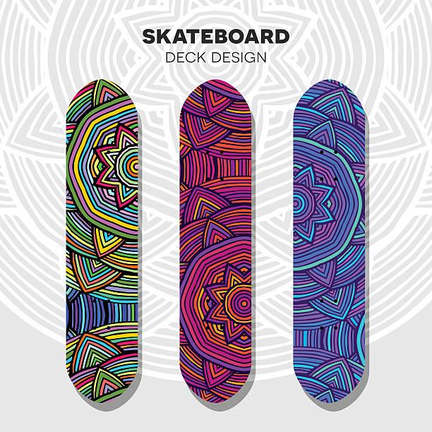 skateboard farbenfrohen modelle - holzdeck stock-grafiken, -clipart, -cartoons und -symbole
