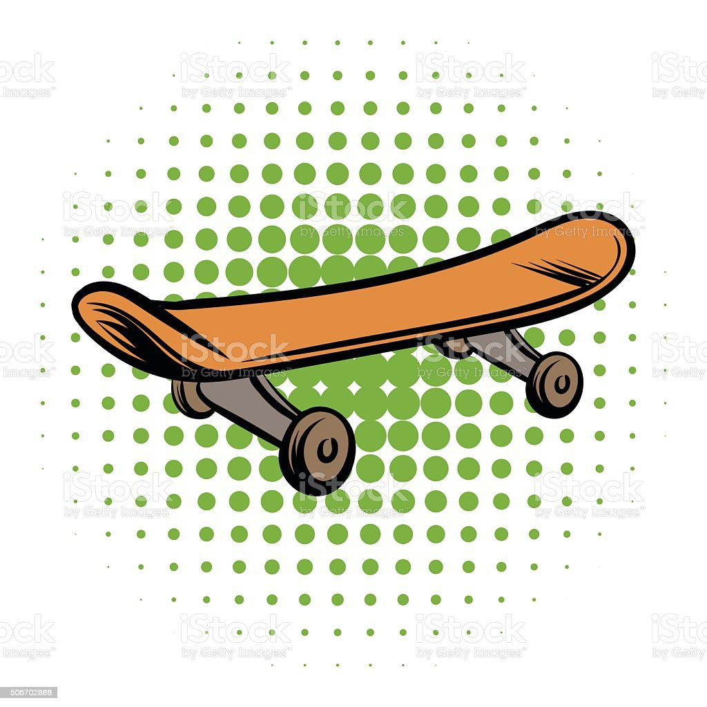 Skateboard comics style icon isolated on white background