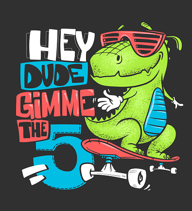 Skateboard dinosaur urban t-shirt print design, vector illustration.