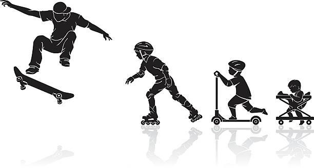 Skateboard Evolution vector art illustration