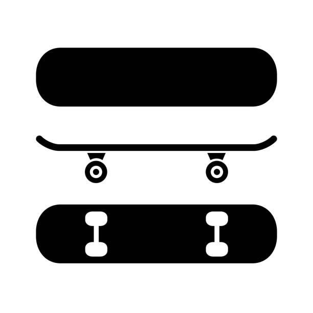 illustrazioni stock, clip art, cartoni animati e icone di tendenza di skateboard from different angles, set skate icon – stock vector - skate
