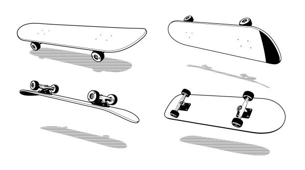Bекторная иллюстрация 3D Skateboard Heelflip retro
