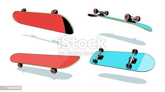 Skateboard Heelflip sequence of angles. Color vector 3d illustration.