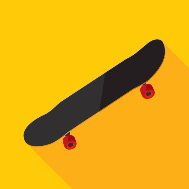 Skateboard Icon Flat Vector illustration of a skateboard against a yellow background in flat style. skate stock illustrations