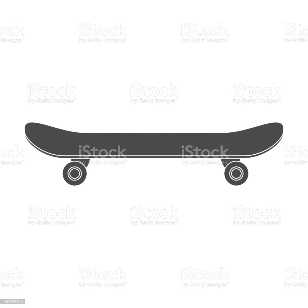 Skateboard icon in black style isolated on white background. Park symbol stock vector illustration. vector art illustration