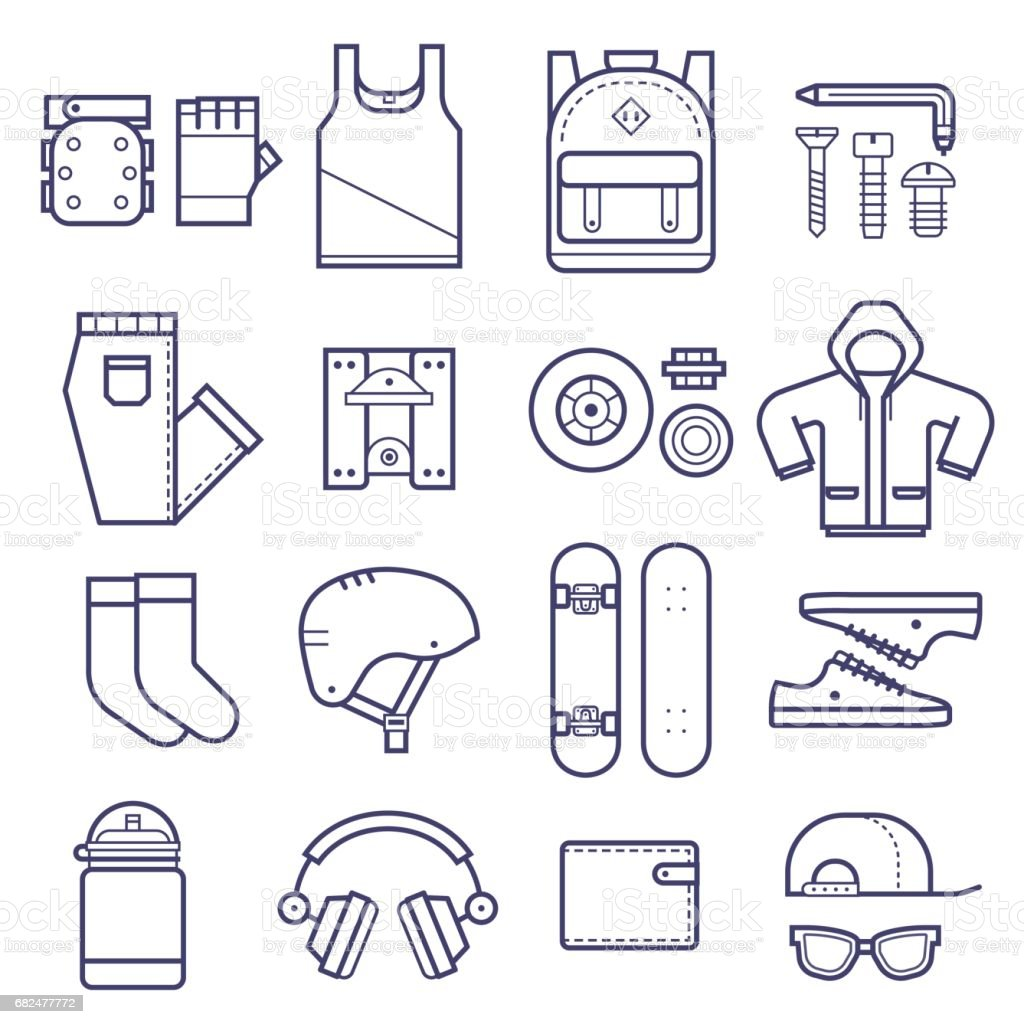 Skateboard Icons Set royalty-free skateboard icons set stock vector art & more images of backpack