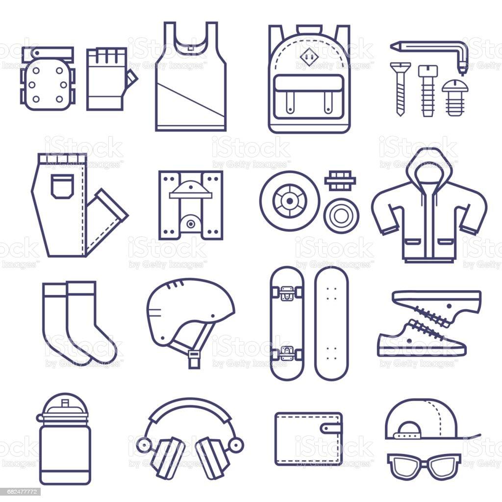 Skateboard Icons Set vector art illustration