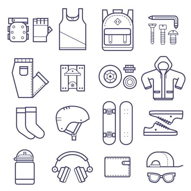 skateboard icons set - funktionsjacke stock-grafiken, -clipart, -cartoons und -symbole