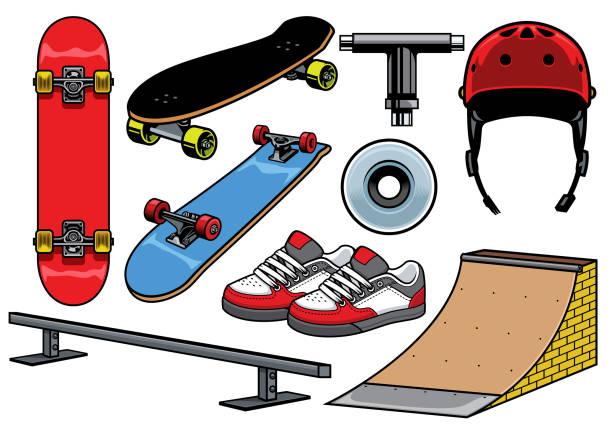 skateboard objects set vector of skateboard objects set skate stock illustrations