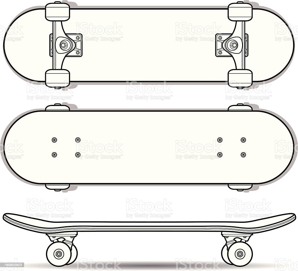 Skateboard Outline vector art illustration