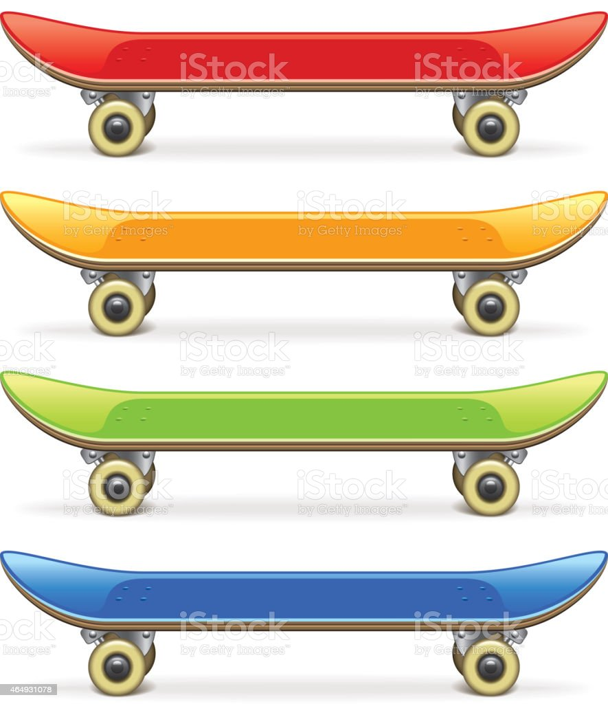 Skateboard set isolated on white vector vector art illustration