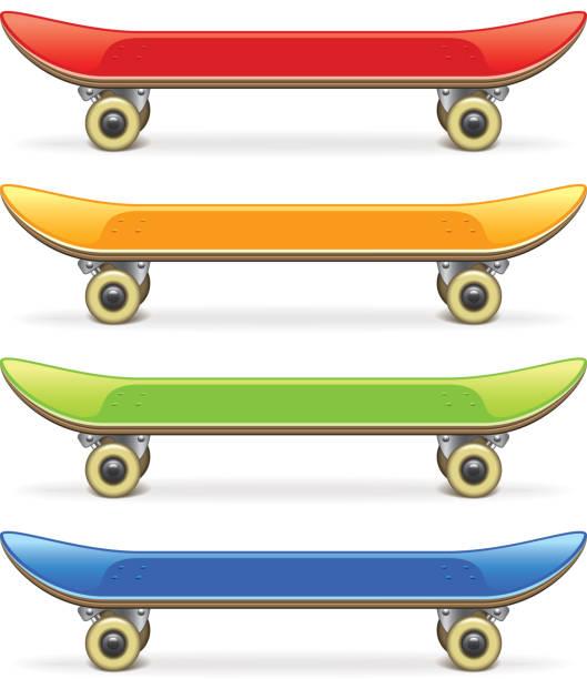 ilustrações, clipart, desenhos animados e ícones de skate conjunto isolado no branco, vetor - andar de skate