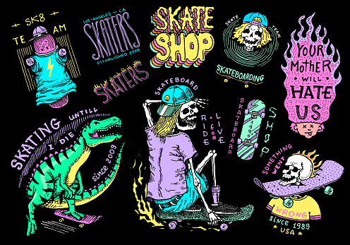Skateboard shop stickers set. Dinosaur and skeletons ride on the boards badges. Fiery head and skull. Vintage retro labels for t-shirts and typography. Hand Drawn engraved sketch