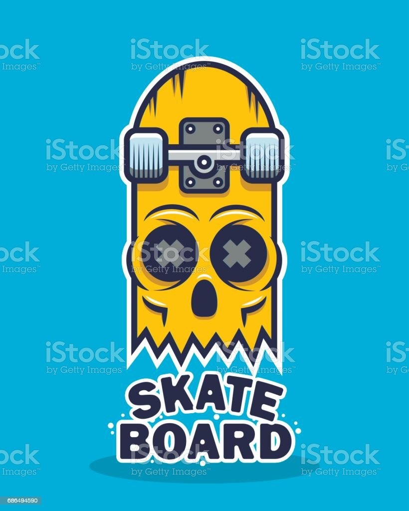 Skateboard skull design vector art illustration