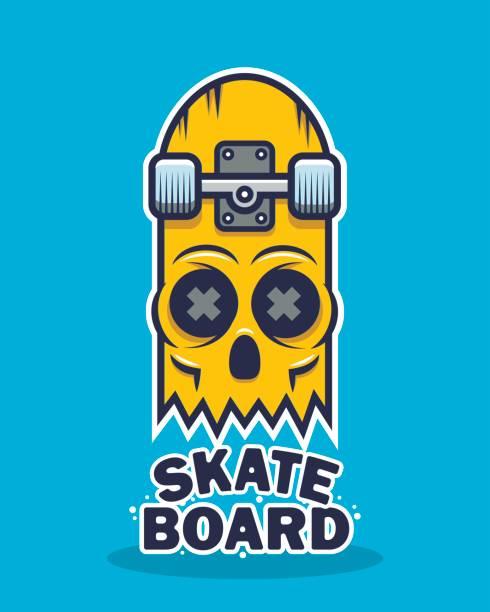ilustrações, clipart, desenhos animados e ícones de desenho do crânio skate - andar de skate