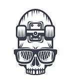 Skateboard skull in glasses design