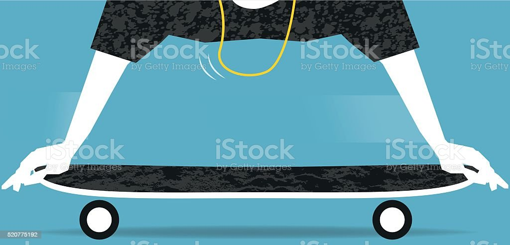 Skateboard trick vector art illustration