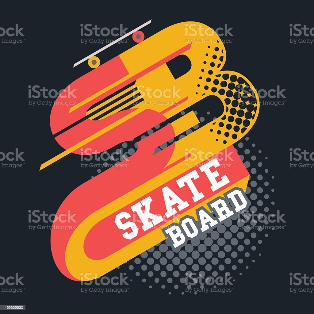 Skateboard t-shirt lettering vector art illustration
