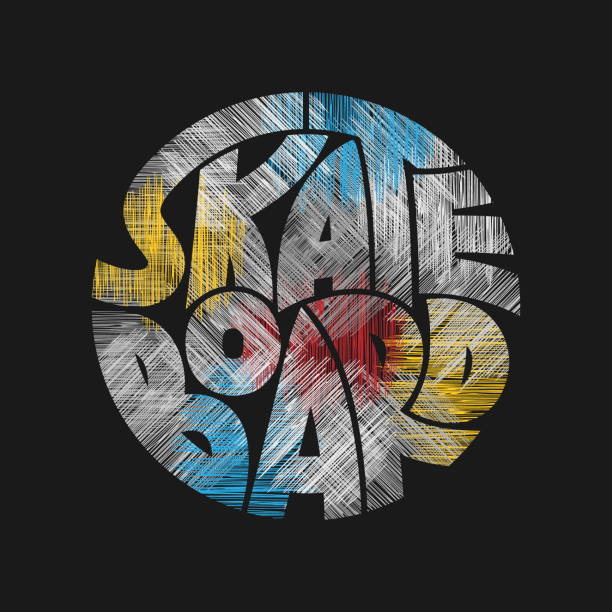 Skateboard typography graphics in grunge style. Skateboard Concept for print production. T-shirt fashion Design. Template for poster, print, banner, flyer. skate stock illustrations