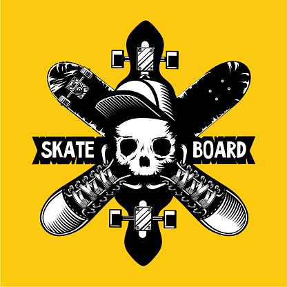 Skateboard vector emblem with skull and boards.