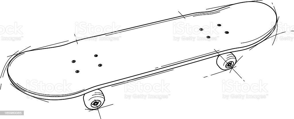 Skateboard stock vector art more images of black and white 165960065 istock - Dessin skateboard ...