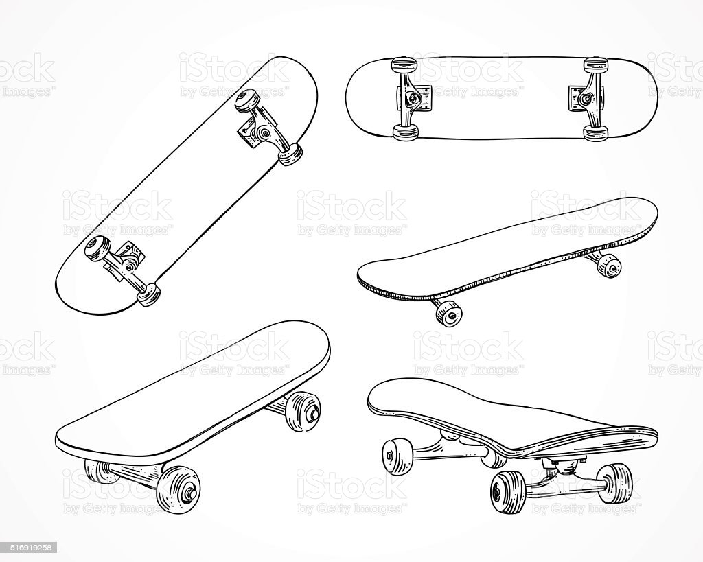 Skateboard vector illustrations. Skating equipment. Outline skateboard extreme sport vector art illustration