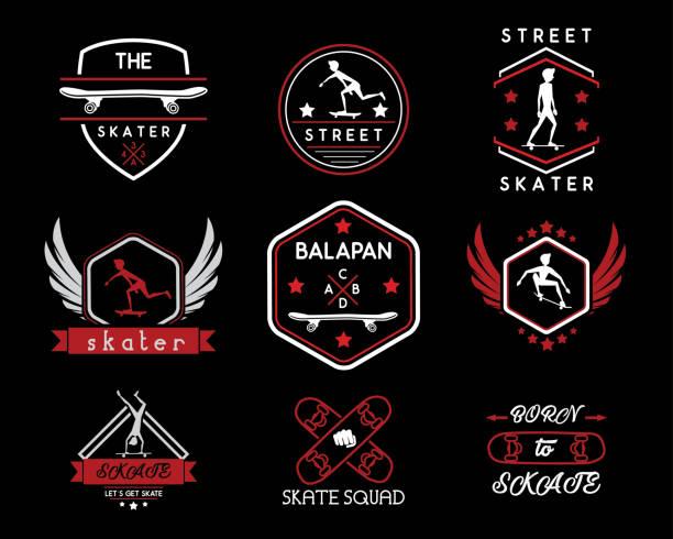 skateboard vintage retro icon badge design illustration - skateboard stock illustrations