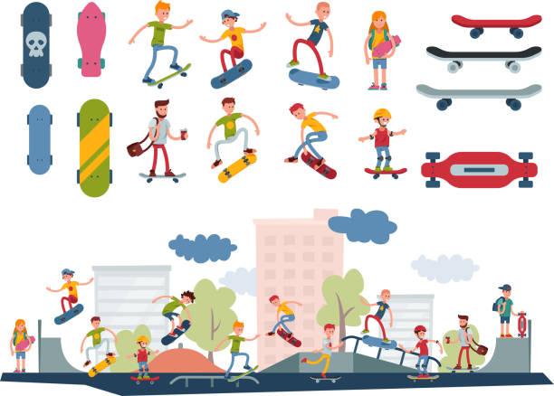 bildbanksillustrationer, clip art samt tecknat material och ikoner med skateboardåkare aktiva människor park sport extrem utomhus aktiv skateboard urban hoppande tricks vektorillustration - skatepark