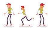 Skateboarder girl, wearing jeans, cap, long sleeve, smiling teen riding and performing tricks in motion, youth action outdoor sport, vector flat style cartoon illustration isolated on white background