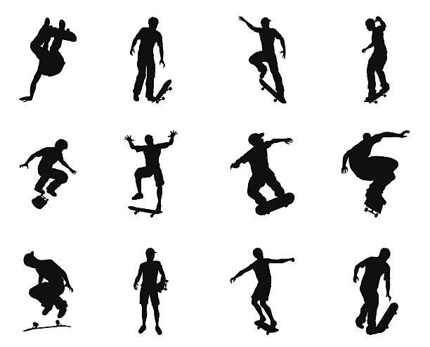 bildbanksillustrationer, clip art samt tecknat material och ikoner med skateboarder silhouette outlines - skatepark