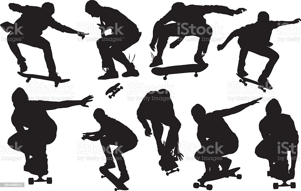 Skateboarder skateboarding vector art illustration