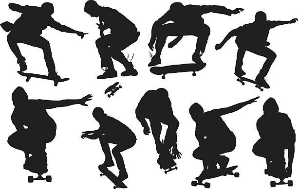 ilustrações, clipart, desenhos animados e ícones de skatista skate - andar de skate